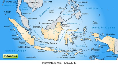 Map of Indonesia as an overview map in pastel orange