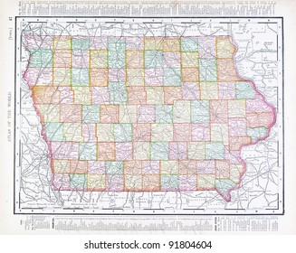 a map of iowa usa from spoffords atlas of the world printed in the