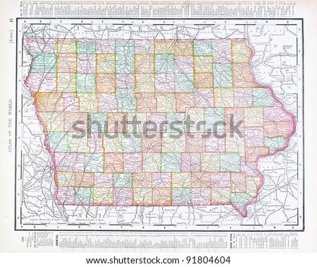 Iowa On Usa Map.Map Iowa Usa Spoffords Atlas World Stock Photo Edit Now 91804604