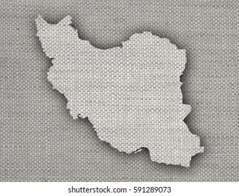 Map of Iran on old linen