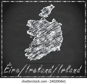 Map of Ireland as chalkboard