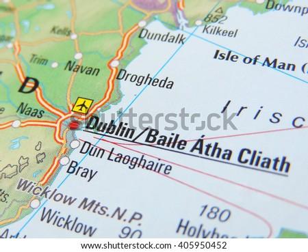 Map Ireland Focus On Dublin Stock Photo Edit Now 405950452