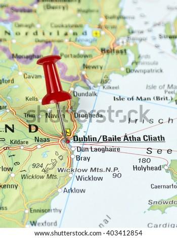 Map Ireland Pin Set On Dublin Stock Photo Edit Now 403412854