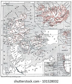 Map of islands of Jutland, Denmark and its colonies, vintage engraved illustration. Dictionary of words and things - Larive and Fleury - 1895.