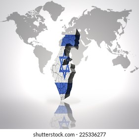 World map background israel flag stock illustration 75506500 map of israel with israeli flag on a world map background gumiabroncs Image collections