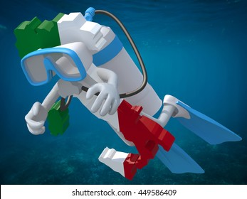 Map of Italy with diving goggles and flippers, 3d illustration.