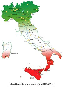 Map of Italy with national colors and capitals