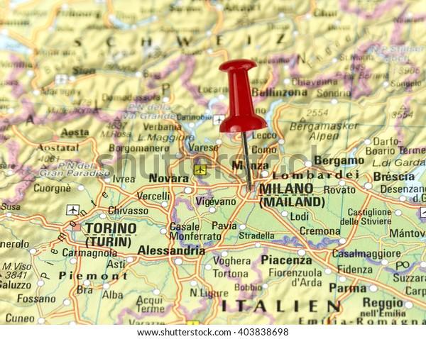 Map Of Italy Milan.Map Italy Pin Set On Milan Stock Photo Edit Now 403838698