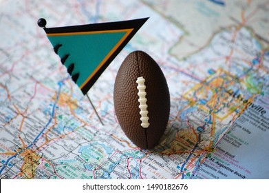 A map of Jacksonville, Florida marked with a flag pin and a football.