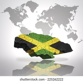 Map of Jamaica with Jamaican Flag on a world map background
