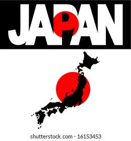 map of Japan and Japan flag text illustration JPG