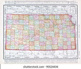A map of Kansas, USA from Spofford's Atlas of the World, printed in the United States in 1900, created by Rand McNally & Co.