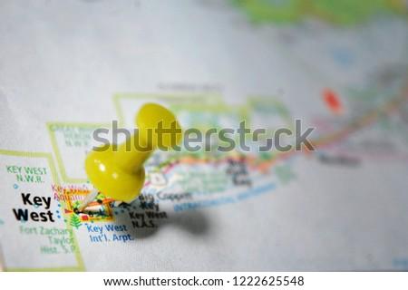 Map Key West Florida.Map Key West Florida Marked Push Stock Photo Edit Now 1222625548