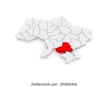 Map of Kherson region. Ukraine. 3d