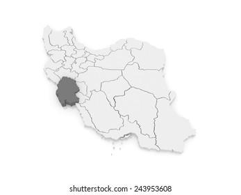 Map of Khuzestan. Iran. 3d