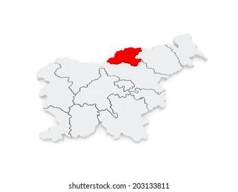 Map of Korushsky region. Slovenia. 3d