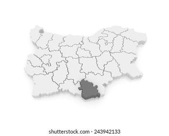 Map of Kyrdzhaliyskaya area. Bulgaria. 3d