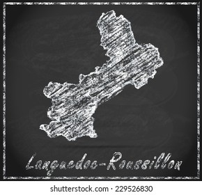 Map of languedoc-roussillon as chalkboard  in Black and White
