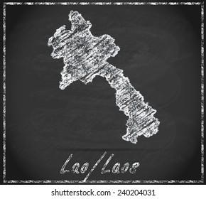 Map of Laos as chalkboard