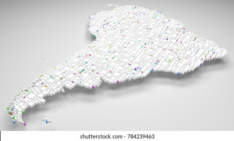 Map of Latin America   3d Rendering, mosaic of little bricks - White and harlequin colors