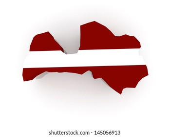 Map of Latvia. 3d