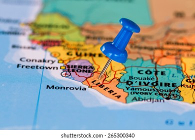 Map of Liberia with a blue pushpin stuck