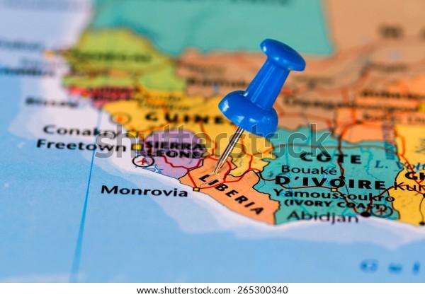 Map Liberia Blue Pushpin Stuck Stock Photo (Edit Now) 265300340