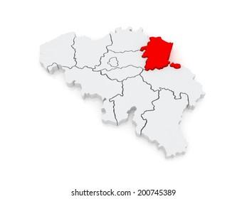 Map of Limburg. Belgium. 3d