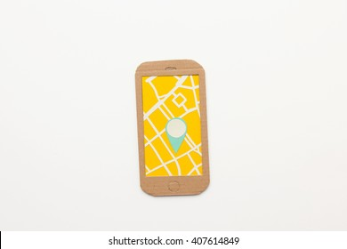 Map with location pin on mobile phone screen - isolated on white background