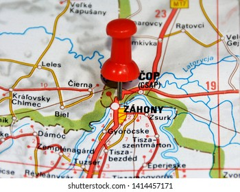 Map location of Zahony city in Hungary