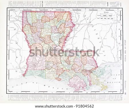 United States Map Louisiana.Map Louisiana Usa Spoffords Atlas World Stock Photo Edit Now
