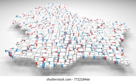 Map of Luxembourg - Europe   3d Rendering: mosaic of little bricks - Flag colors