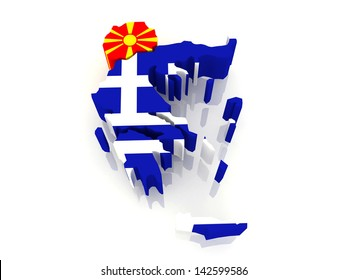 Map of Macedonia and Greece. 3d