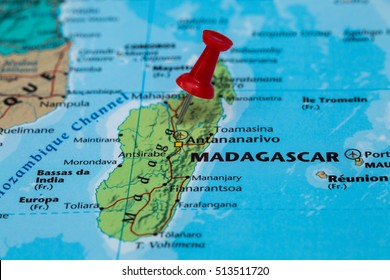 Map of  Madagascar with a red pushpin stuck