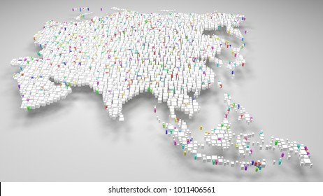 Map of Malaysia - Asia   3d Rendering, fall down of little bricks - White and Flag colors