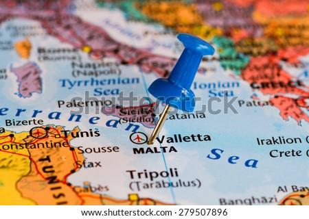 Map Malta Blue Pushpin Stuck Stockfoto (Jetzt bearbeiten) 279507896 ...