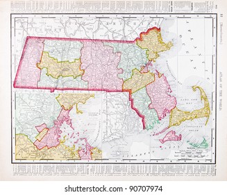 A map of Massachusetts, USA from Spofford's Atlas of the World, printed in the United States in 1900, created by Rand McNally & Co.