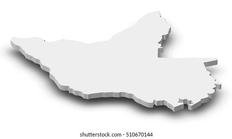 Map - Matabeleland North (Zimbabwe) - 3D-Illustration