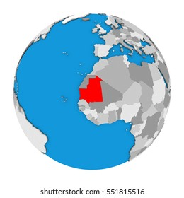 Map of Mauritania highlighted in red on globe. 3D illustration isolated on white background.
