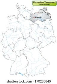 Map of Mecklenburg-Western Pomerania with main cities in gray