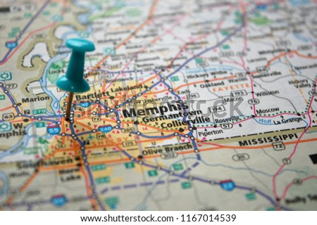 Map Memphis Tennessee Marked Push Pin Stock Photo (Edit Now ...