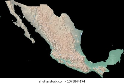 map of mexico cross blended hypso with shaded relief water and drainages 3d