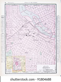 A map of Minneapolis, Minnesota, USA from Spofford's Atlas of the World, printed in the United States in 1900, created by Rand McNally & Co.