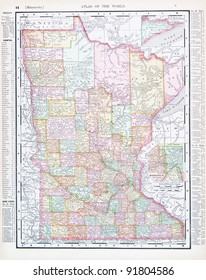 A map of Minnesota, USA from Spofford's Atlas of the World, printed in the United States in 1900, created by Rand McNally & Co.