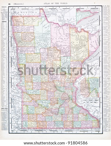Map Minnesota USA Spoffords Atlas World Stock Photo (Edit Now ...