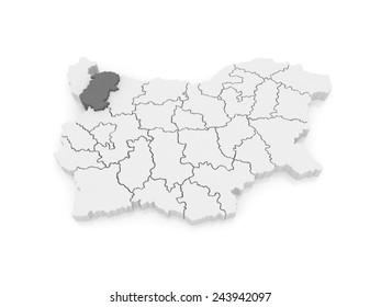 Map of Montana area. Bulgaria. 3d