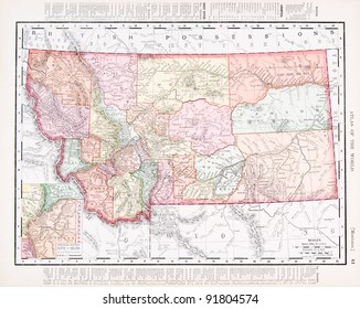 A map of Montana, USA from Spofford's Atlas of the World, printed in the United States in 1900, created by Rand McNally & Co.