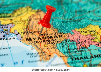 Map of  Myanmar with a red pushpin stuck