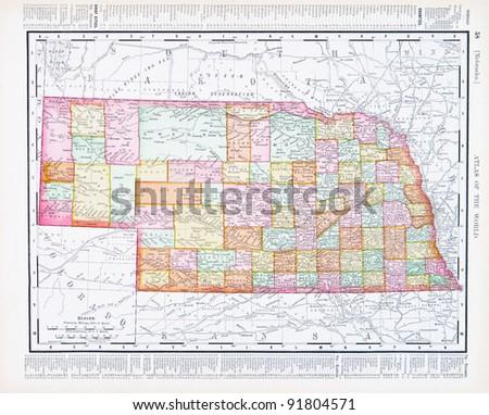 Map Nebraska Usa Spoffords Atlas World Stock Photo Edit Now