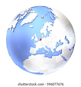 Map of Netherlands on metallic globe. 3D illustration isolated on white background.